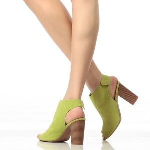 🆕️ARRIVED Lime Faux Suede Peep Toe Sling Back Chu